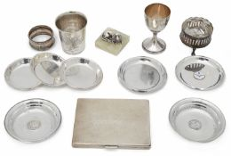 A collection of mostly Norwegian silver items to include a small late 19th century beaker