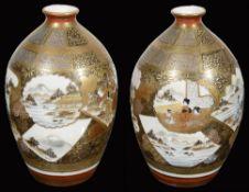 A pair of Japanese Meji period Kutani porcelain vases