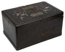 A Japanese Meiji period black lacquer and mother of pearl inlaid work box
