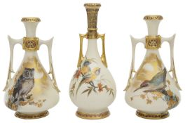 Late 19th c. Royal Worcester blush ivory twin handled bottle vases attributed to Charles Baldwyn