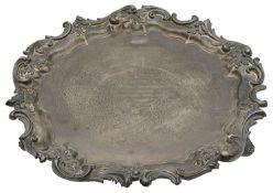 A large George V silver presentation salver