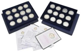 The Royal Mint - two sets of 12 silver proof coin sets commemorating the Queen's 80th Birthday
