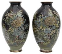 A pair of Japanese Meiji period silver wire cloisonne vases