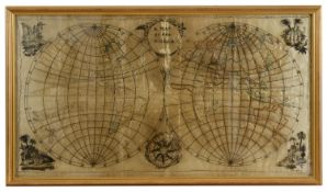 A rare George III double hemisphere world map sampler