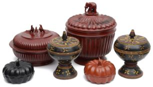 A collection of Burmese lacquer (Hsun-Ok) offering boxes and covers