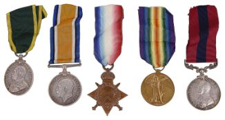 A WW1 Distinguished Conduct group of five medals awarded to 55400/C.S. Mjr W.H.Elwick. R.E.