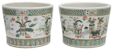 A pair of 19th century Chinese Qing Dynasty famille verte jardiniere