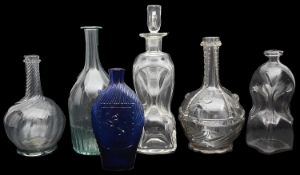 A selection of mostly 19th century Norwegian probably Gjovik soda glass carafes and other glass