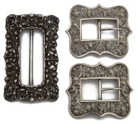 A pair of Victorian Scottish silver shoe buckles and a late Victorian silver buckle