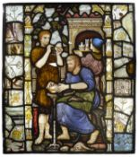 English School, an Arts and Crafts leaded stained glass panel c.1875