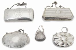 Four assorted silver coin purses and another silver plated example,