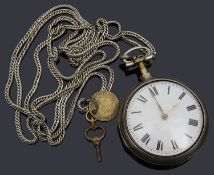 A George III silver pair cased open faced pocket watch