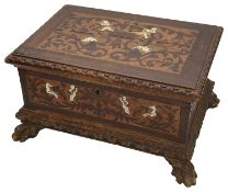 A late 18th century Northern Italian walnut, marquetry and ivory inlaid table casket