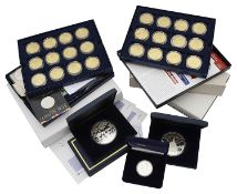 Royal Mint - A collection of silver and other commemorative proof coins