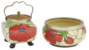 A Clarice Cliff Scarlet Flower biscuit barrel and salad bowl