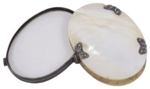 An early 19th century Georgian silver and mother of pearl oval magnifier