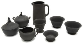 A collection of early 20th century Wedgwood black basalt
