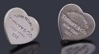 A pair of Tiffany and Co mini heart 'Please return to Tiffany' stud earrings