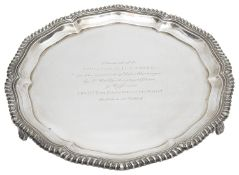 A George V silver presentation salver