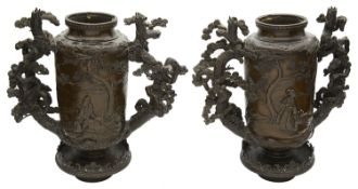 A pair of large Japanese Meiji period bronze twin handled censers