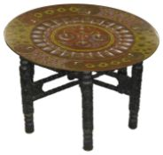 An early 20th century Anglo-Indian enamelled brass topped occasional table
