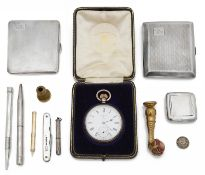 A selection of silver items to include a 9ct gold propelling tooth pick, cigarette cases