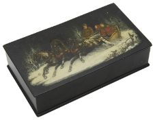 An early 20th century Russian black lacquer and papier box