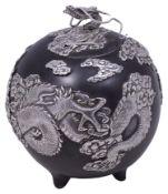 A Japanese Meiji period iron and silver koro