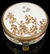 A late 19th century Japanese Meiji period Satsuma pottery circular pot and cover (Kogo) c.1900