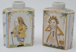 A pair of late 19th Century Delft tea canister