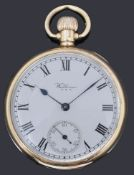 A 9ct gold Waltham open faced top wound pocket watch,
