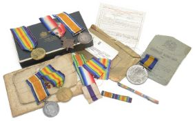 Two First World War medal groups and a folding Trench Map of Roclincourt
