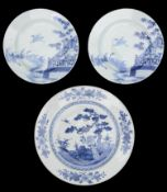 An 18th century Chinese export blue and white charger and pair of blue and white plates