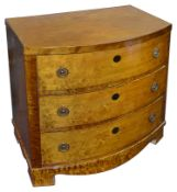 A mid 19th c. Scandinavian Biedermeier birch small bow fronted chest of drawers