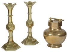 A pair of Victorian brass candlesticks and an Indian brass holy water or Gangajal pot