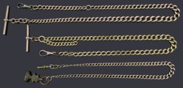 A 9ct gold graduated curb link Albert with 9ct gold t-bar and gilt metal swivel clip; others