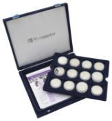 The Royal Mint - A .925 silver proof twenty six coin set commemorating the Queen's 80th Birthday