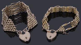 A 9ct gold four row fancy link gate chain bracelet