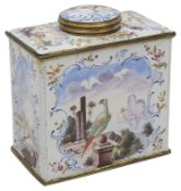 A late 18th century South Staffordshire Bilston enamel tea caddy and cover c.1770