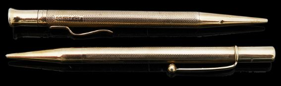 Two 9ct gold propelling pencils