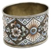 An early 20th century Russian 84 Zolotnik silver-gilt and cloisonne enamel napkin ring