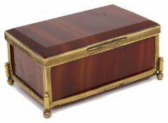 A 19th century gilt metal mounted red banded agate trinket box