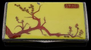 A Continental Art Deco silver and enamel 'Chinoiserie' ladies cigarette case