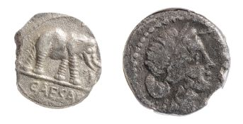 Julius Caesar Silver Denarius49-44 BCElephant advancing right, trampling horned serpent; CAESAR in