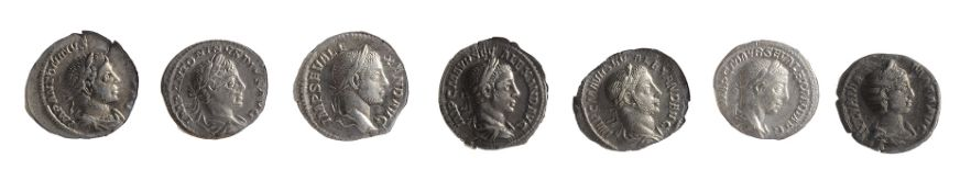 Seven early 3rd century AD Imperial Roman silver denarii first Rome AD 218-222 IMP ANTONINVS PIVS