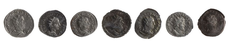 Seven mid to late 3rd century AD Imperial Roman silver and silvered Antoninianii first Mediolanum