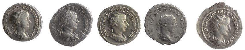 Five early 3rd century AD Imperial Roman silver Antoninianii first IMP CAES M ANT GORDIANVS AVG,