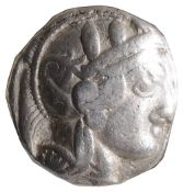Attica, Athens, Silver Tetradrachm, c. 454-404 BC.Helmeted head of Athena facing right / AOE, Owl