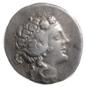 Islands off Thrace, Thasos Silver Tetradrachm2nd Century BCWreathed head of young Dionysos right /
