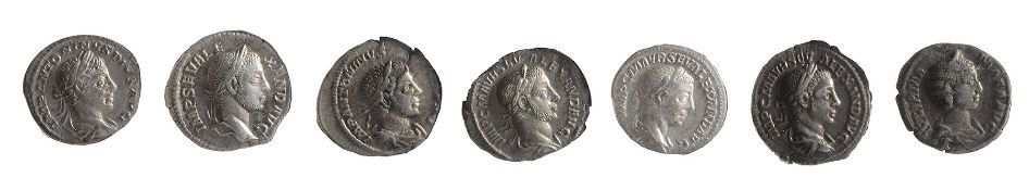 Seven late 2nd early 3rd century AD Imperial Roman silver denarii first Rome (Roma), 211-217 AD,